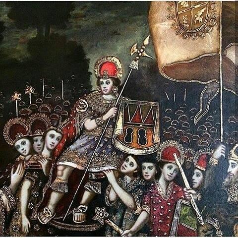Cuadro al leo en pintura estilo colonial oleo sobre tela con detalles en pintura al oro de - Cuadros estilo colonial ...
