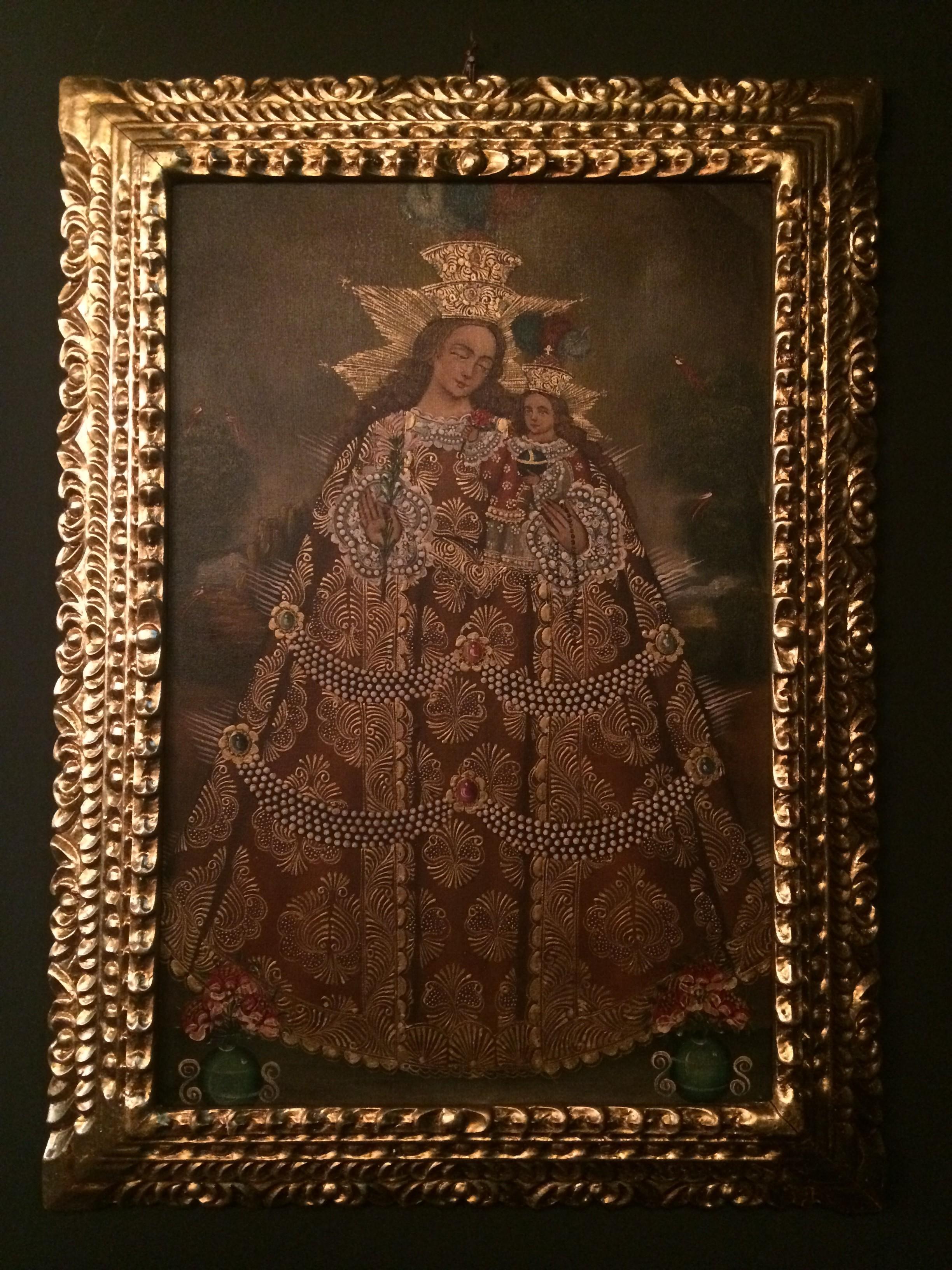 Cuadro,escuela colonial oleo sobre tela, Virgen del Rosario, marco ...