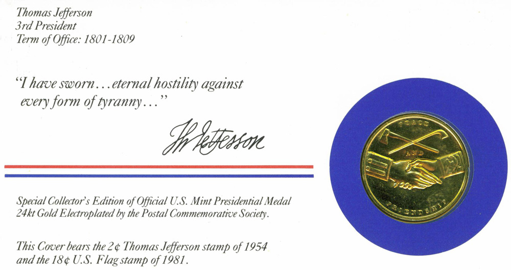 Casa rueda blog archive presidential medal jefferson 1983 w envelope stamp - Thomas jefferson term of office ...