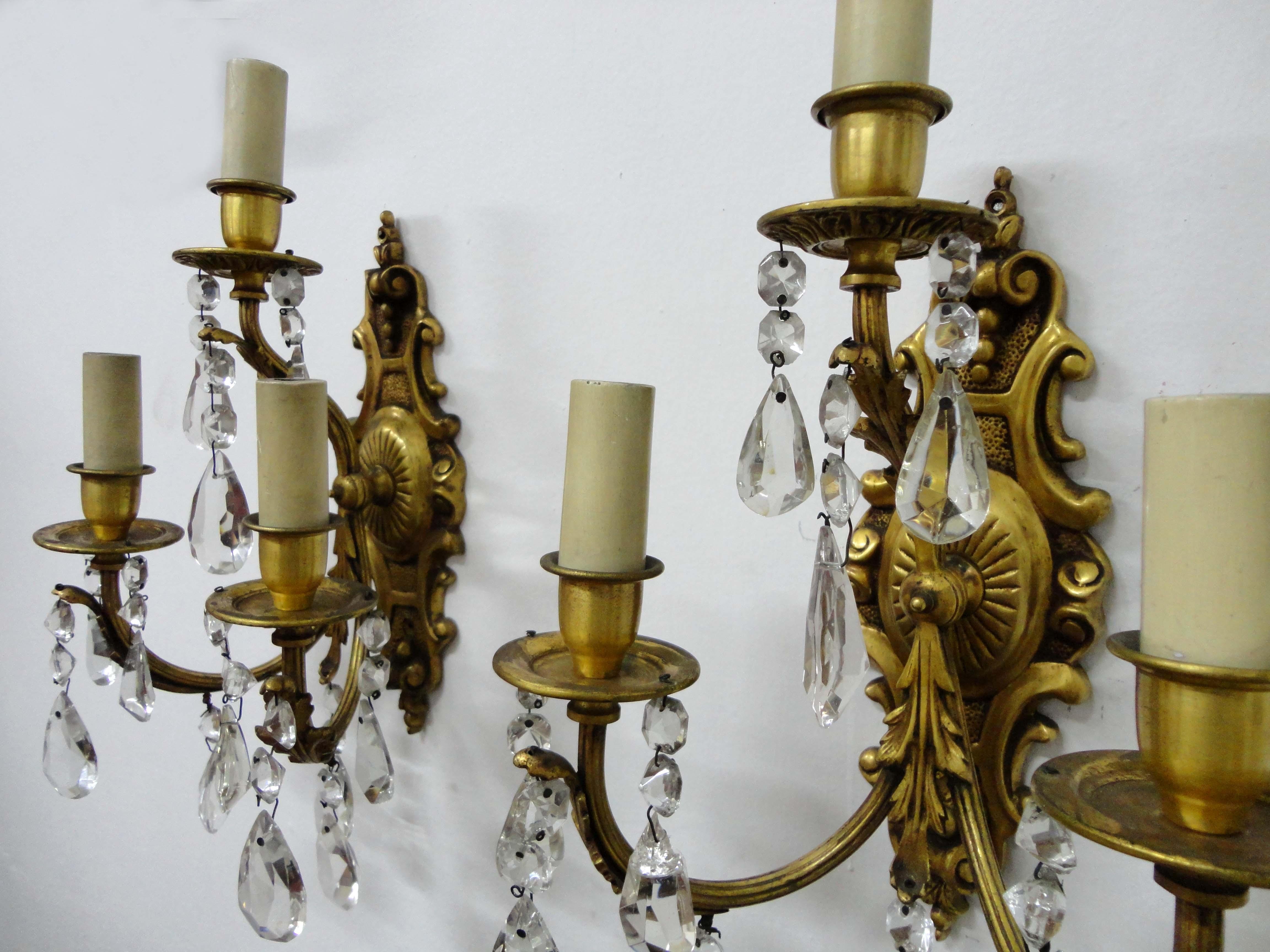 2 apliques en bronce hojas de acanto y caireles casa rueda - Apliques de bronce para muebles ...